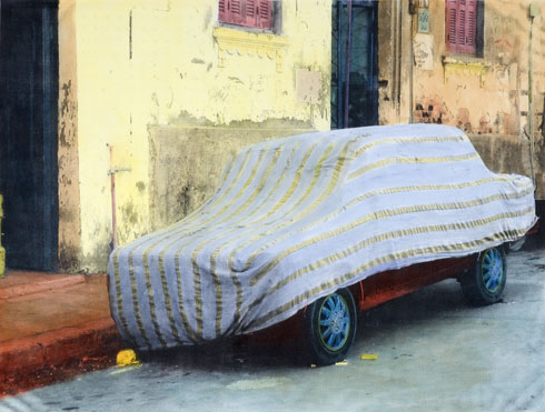 Covered car wearing pyjama